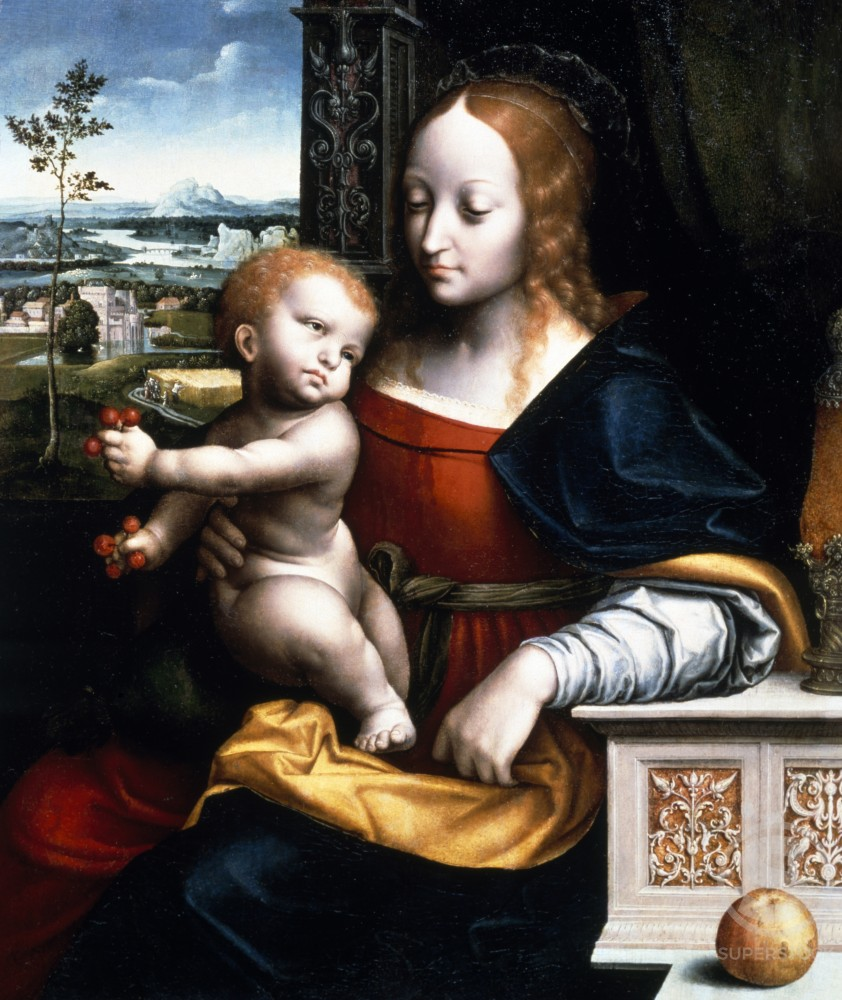 The Madonna and Child at a Casement Before a Window an Extensive Landscape Beyond,  studio of Joos van Cleve,  oil on canvas,  (c. 1485-1540/1541) : Stock Photo