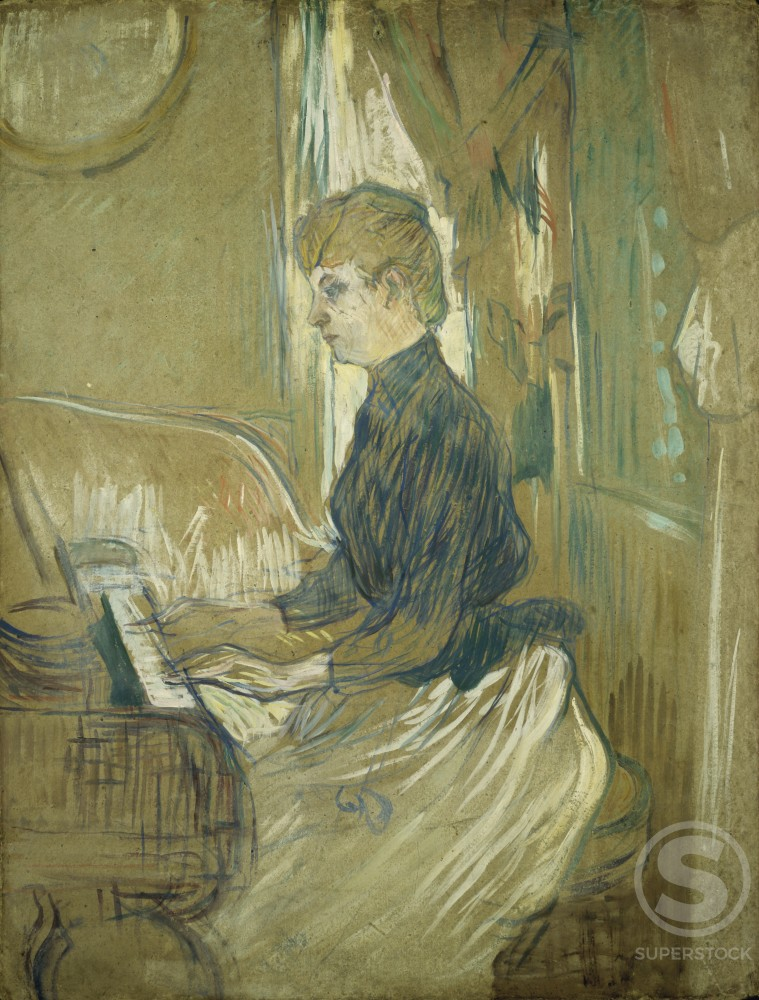At the Piano, Madame Juliette Pascal in the Salon of the Malrome Palace 