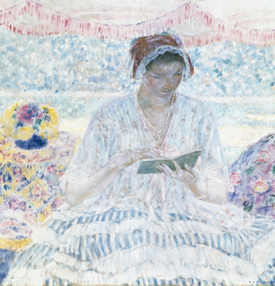 Stock Photo: 1100-901 Summer Reading by Frederick Carl Frieseke,  oil on canvas,  1916,  (1874-1939)