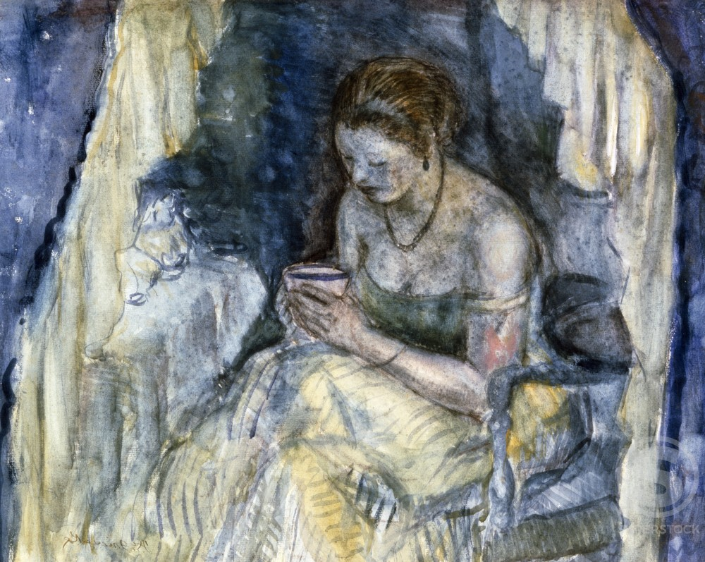 Stock Photo: 1100-927 A Cup of Tea by Frederick Carl Frieseke,  watercolor and charcoal,  (1874-1939)