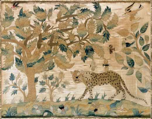 Stock Photo: 1100-955 A Fine Silk-On-Silk Needlework Picture