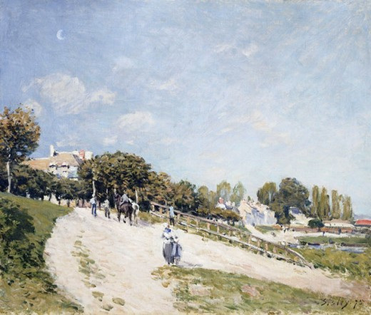 Stock Photo: 1100-978 Paysage a Andresy 1875 Alfred Sisley (1839-1899 French) Oil on Canvas Christie's Images, New York, USA