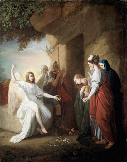 The Women at the Sepulchre 1768 Benjamin West (1738-1820 American) Oil on Canvas Christie's Images, New York, USA : Stock Photo
