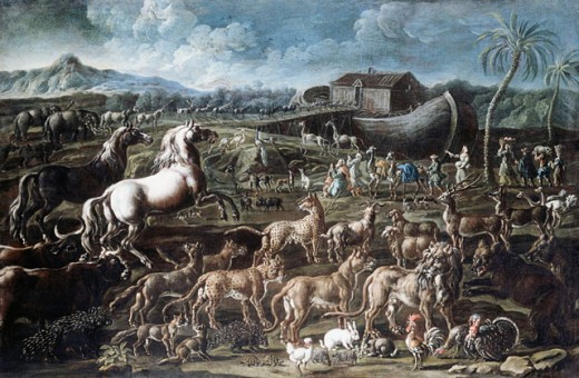 Stock Photo: 1100-995 Noah's Ark c.1718 Cajetan Roos (1690-1770 Italian) Oil on Canvas Christie's Images, New York, USA