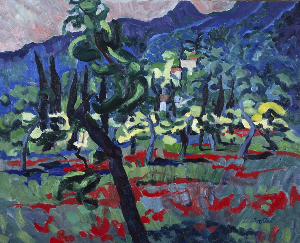 Majorcan Mountains,  by Josephine Trotter,  Born 1940 : Stock Photo