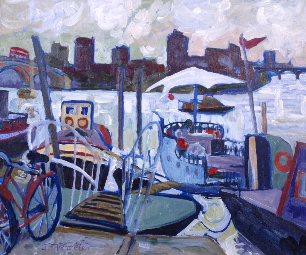 Stock Photo: 1101-513 Chelsea Wharf,  by Josephine Trotter,  oil on canvas,  Born 1940,  circa 1993