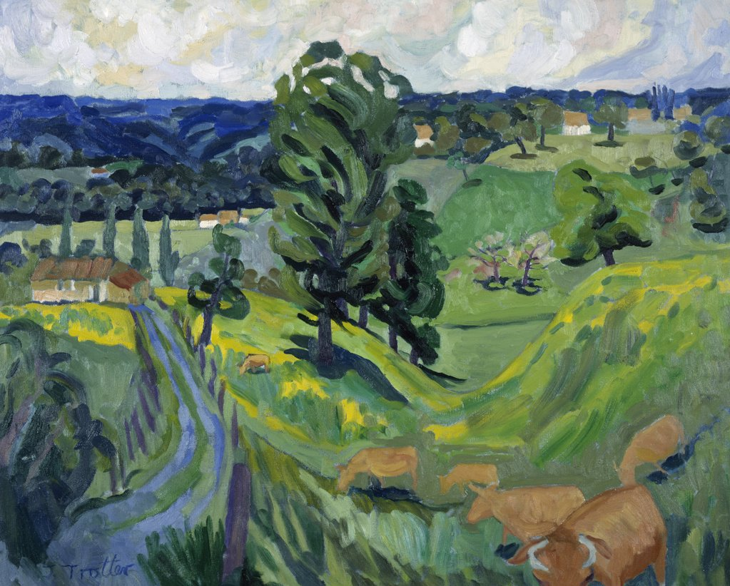 Cows in the Dordogne by Josephine Trotter,  born in 1940 : Stock Photo