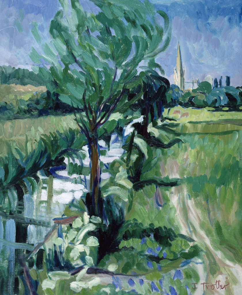Stock Photo: 1101-522 Salisbury Cathedral From the Water Meadows by Josephine Trotter,  born in 1940