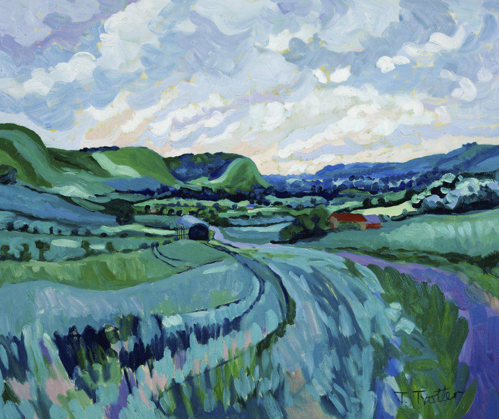 Stock Photo: 1101-523 Wiltshire Landscape  Josephine Trotter (b.1940/British)