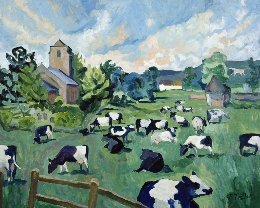 Wiltshire Cows by Josephine Trotter,  born in 1940 : Stock Photo