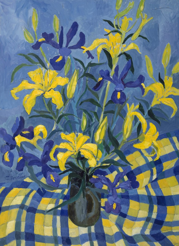 Stock Photo: 1101-527 Irises by Josephine Trotter,  born in 1940
