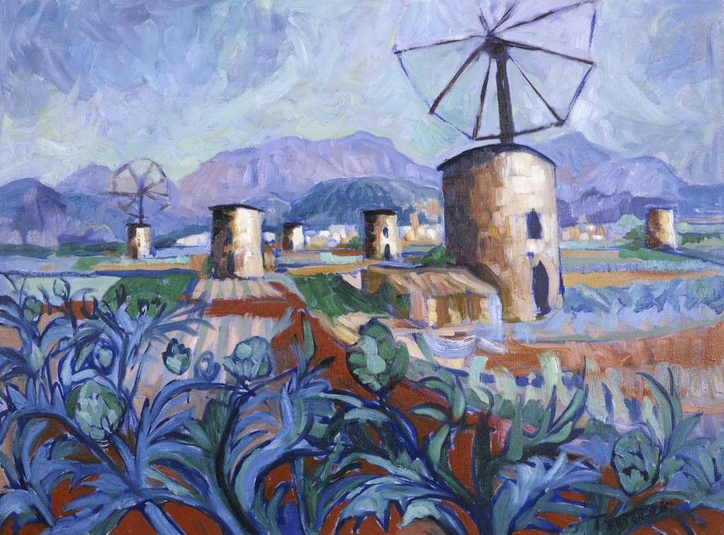 Stock Photo: 1101-528 Majorcan Windmills 