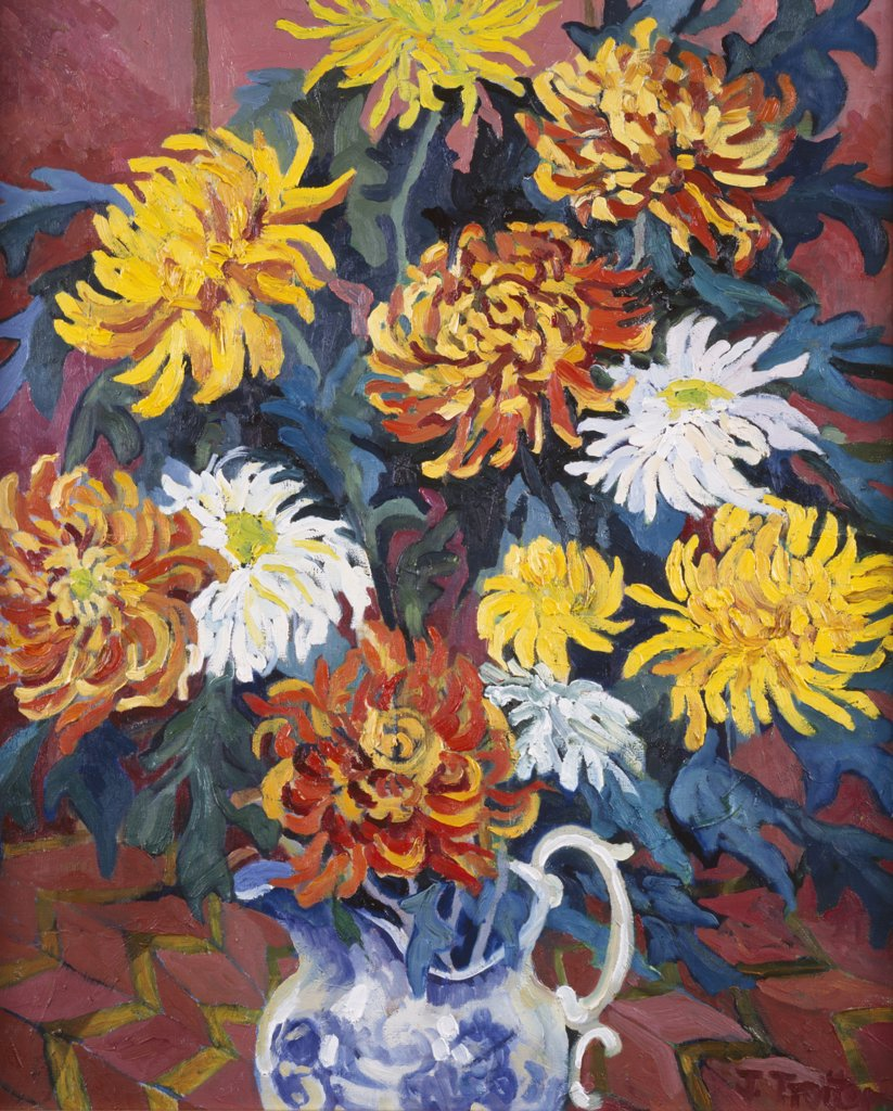 Stock Photo: 1101-530 Chrysanthemums (In Blue Jug)