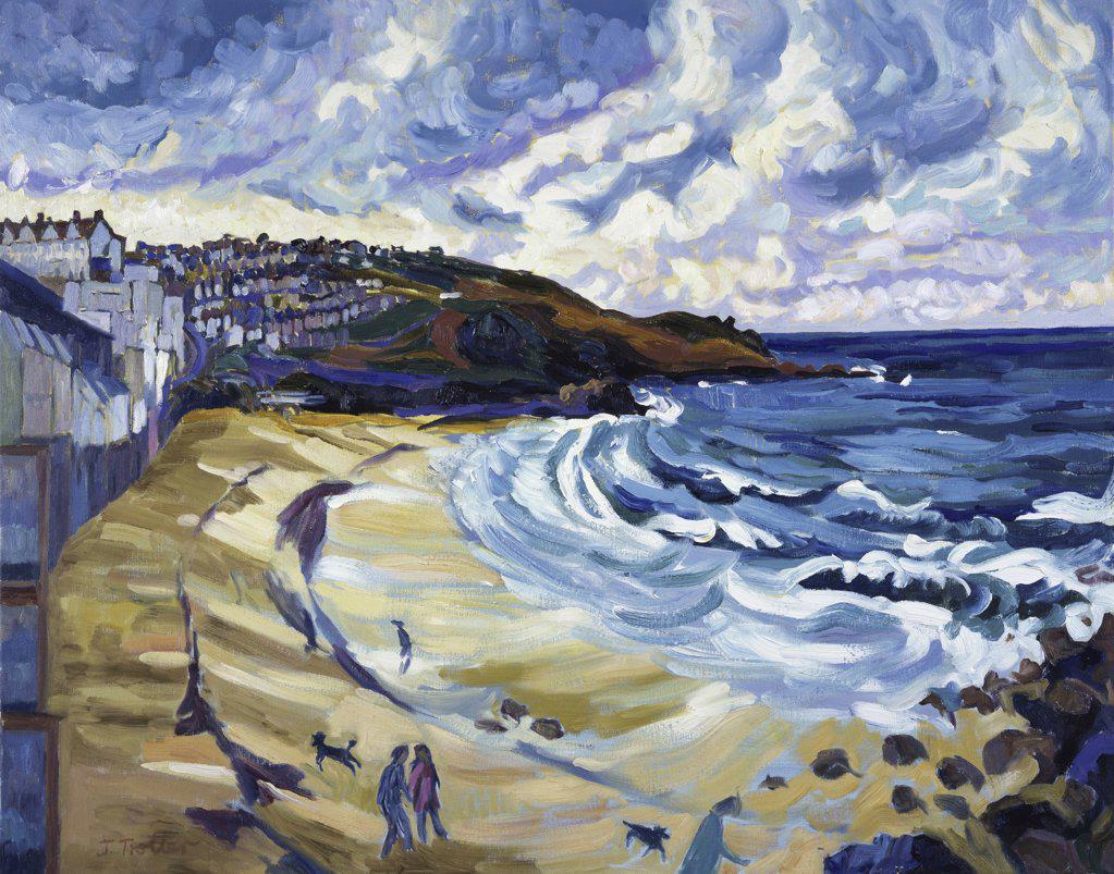 Beach, St. Ives Josephine Trotter (b.1940/British) Oil on Canvas : Stock Photo