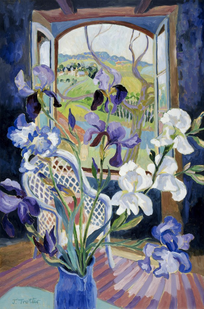 Stock Photo: 1101-562 Iris with French Landscape