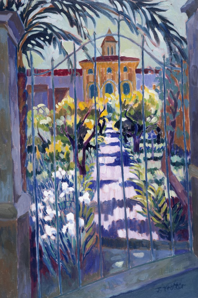 Stock Photo: 1101-564 Pollensa Garden by Josephine Trotter,  oil on canvas,  born in 1940