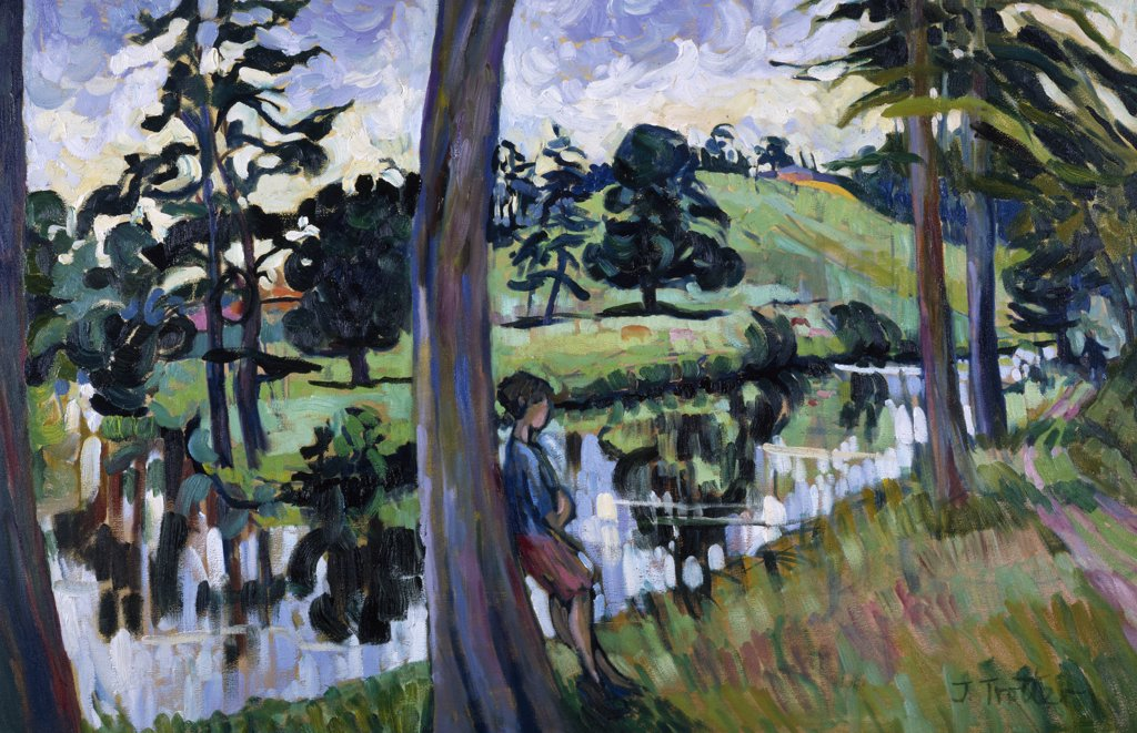 Stock Photo: 1101-565 Boy by the River by Josephine Trotter,  oil on canvas,  born in 1940