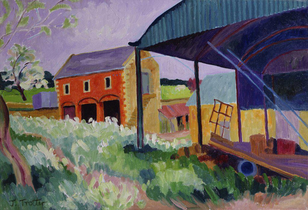 Stock Photo: 1101-580 Dutch Barn 2003 Josephine Trotter (b.1940/British) Oil on Canvas