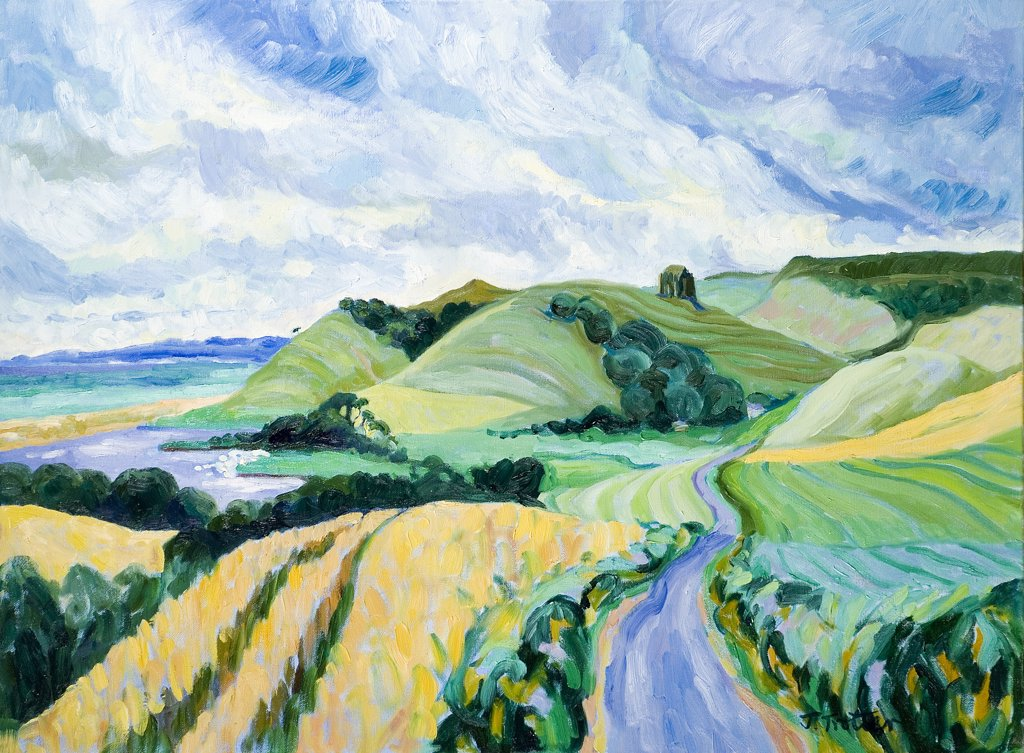 Abbotsbury Dorset Josephine Trotter (b.1940 British) Oil on Canvas : Stock Photo