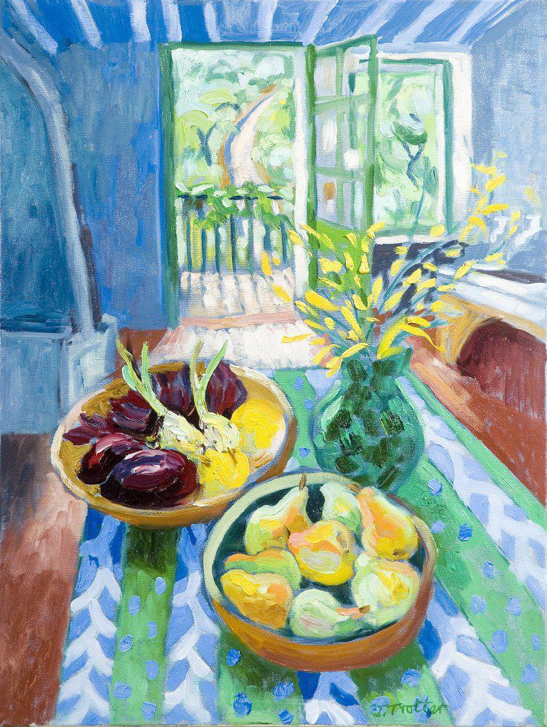 Stock Photo: 1101-587 Blue Interior Josephine Trotter (b.1940 British) Oil on Canvas