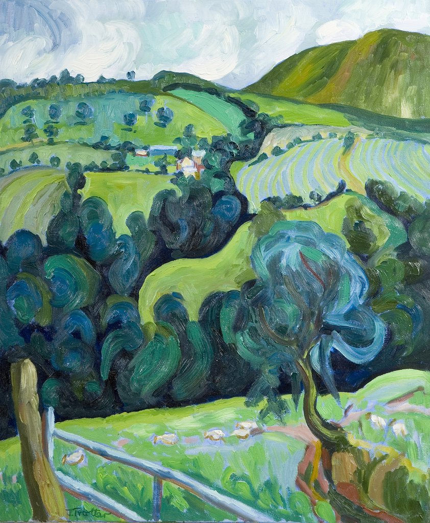 The Black Mountain Wales Josephine Trotter (b.1940 British) Oil on Canvas : Stock Photo