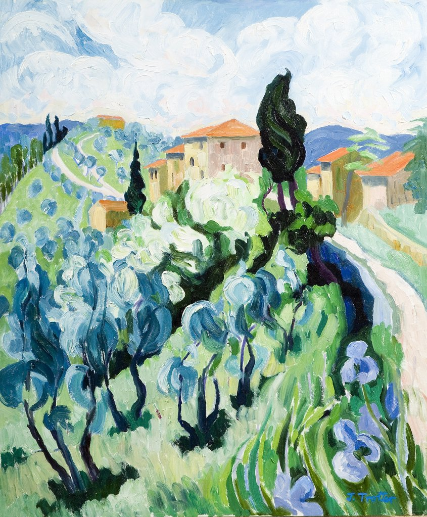 Tuscany Josephine Trotter (b.1940 British) Oil on Canvas : Stock Photo