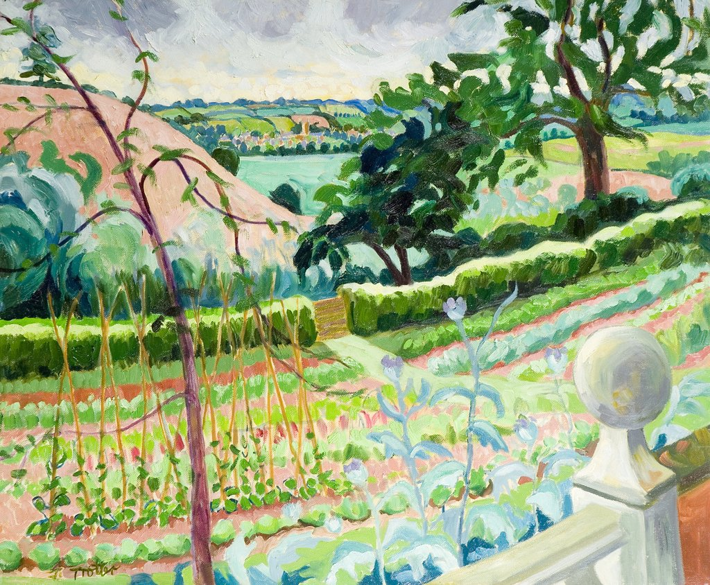 Stock Photo: 1101-590 Oxfordshire Vegetable Garden Josephine Trotter (b.1940 British) Oil on Canvas
