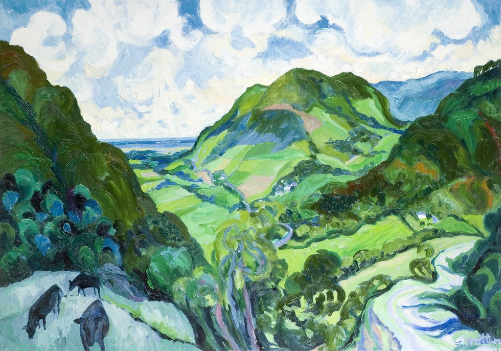 North Wales Josephine Trotter (b.1940 British) Oil on Canvas : Stock Photo