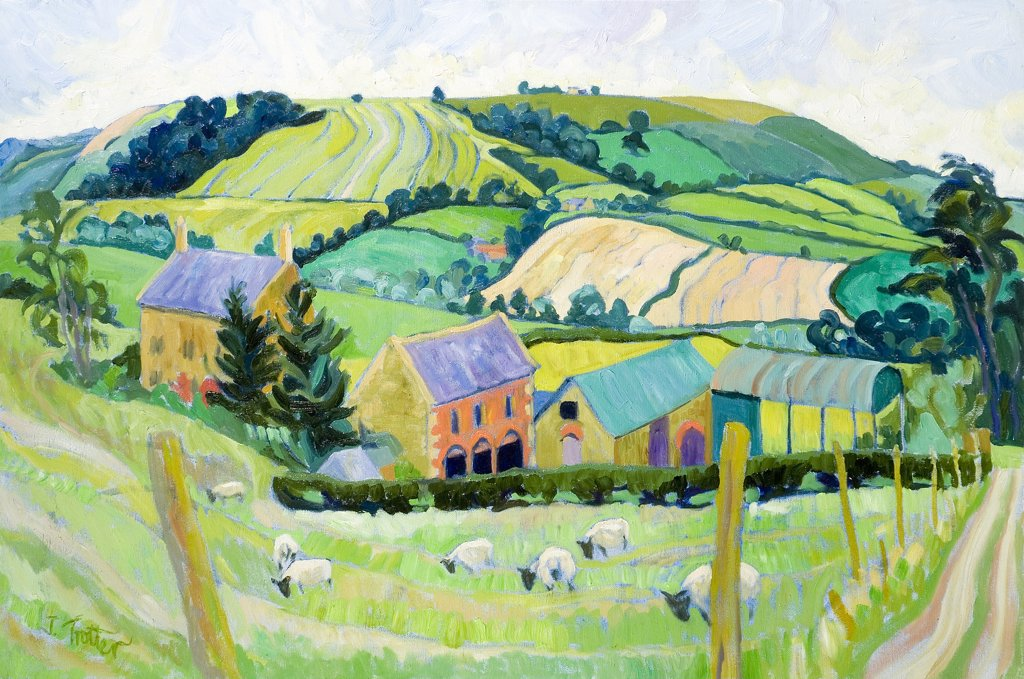 Stock Photo: 1101-595 Cotswold Farm Josephine Trotter (b.1940 British) Oil on Canvas
