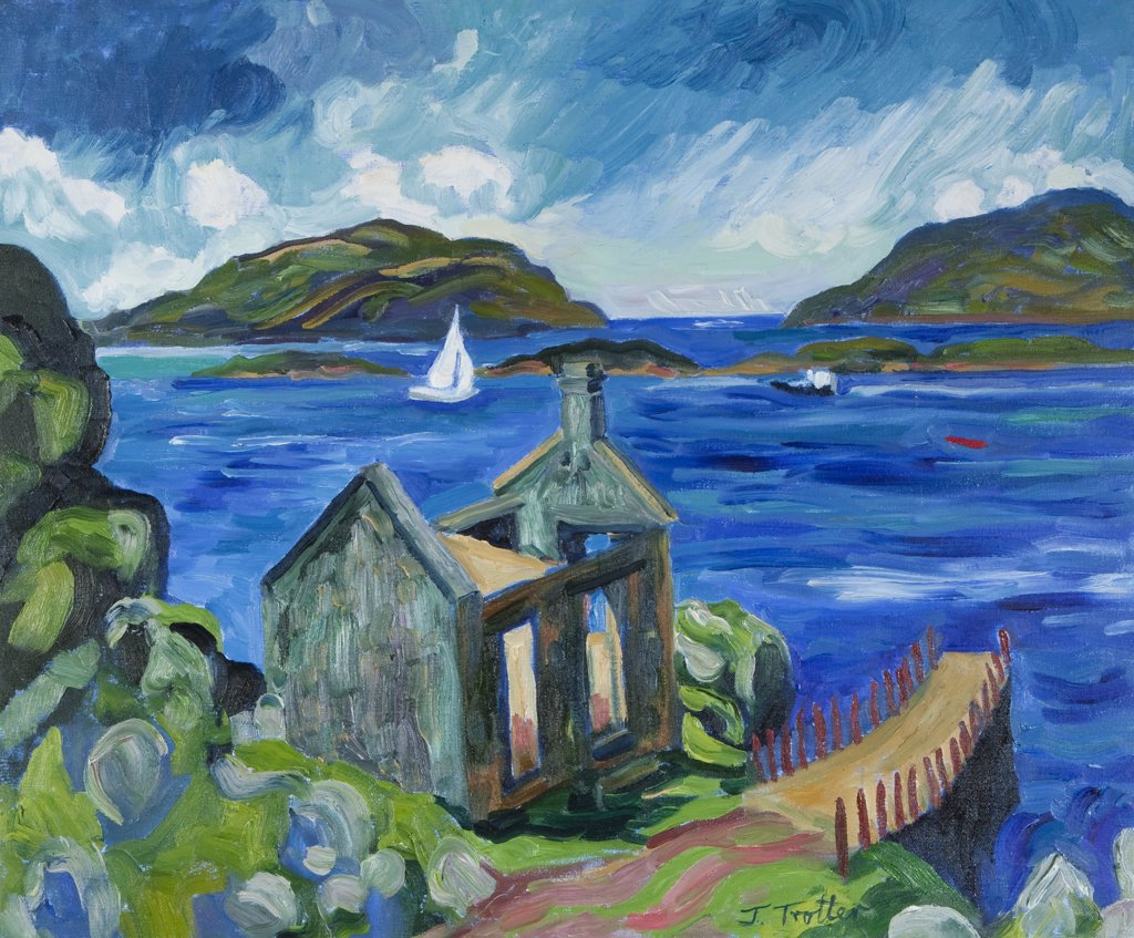 Stock Photo: 1101-603 Ruined church on lake by Josephine Trotter, born 1940