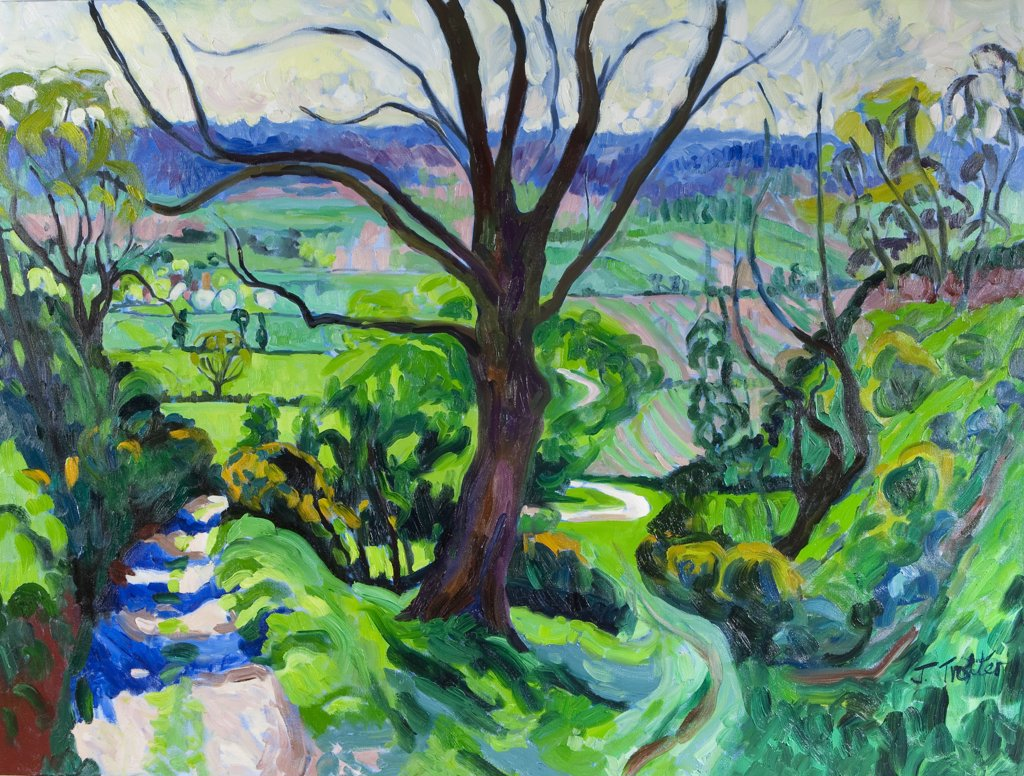 Landscape with trees, by Josephine Trotter, born 1940 : Stock Photo