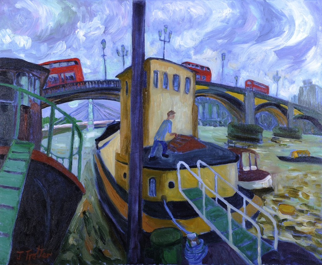 Battersea Bridge by Josephine Trotter, oil on canvas : Stock Photo
