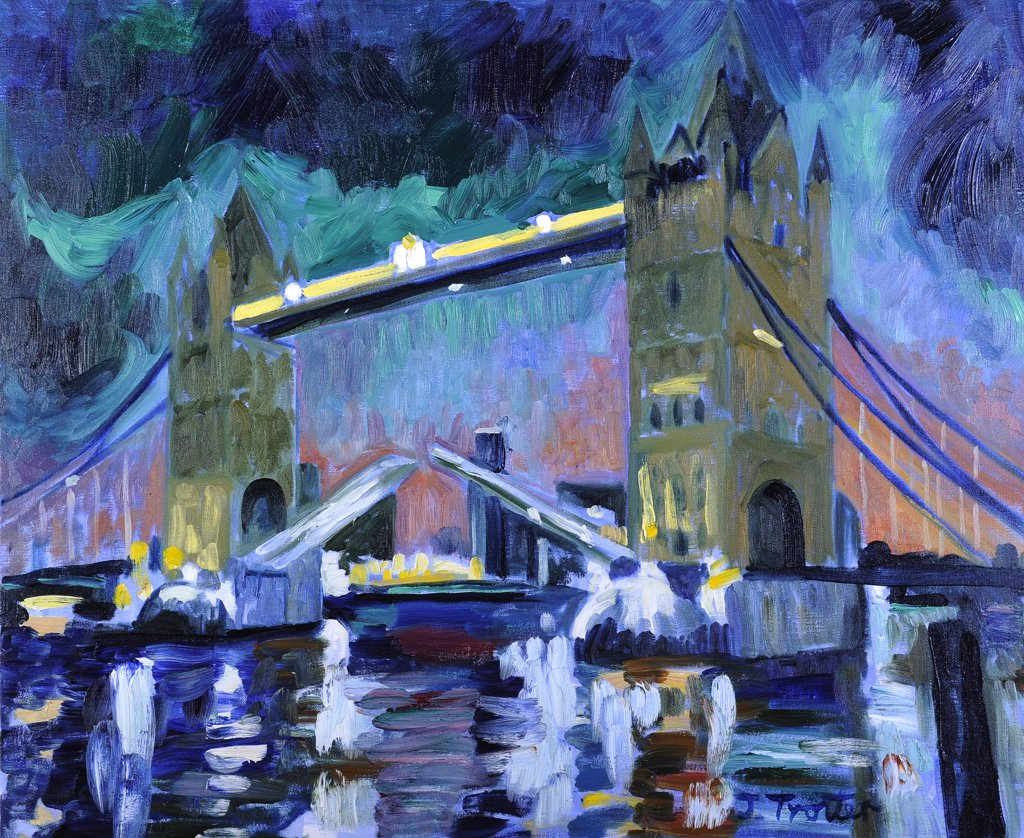 Tower Bridge at Night by Josephine Trotter, oil on canvas : Stock Photo