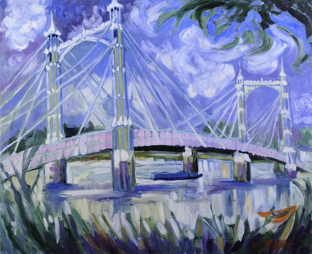 Albert Bridge by Josephine Trotter, oil on canvas : Stock Photo