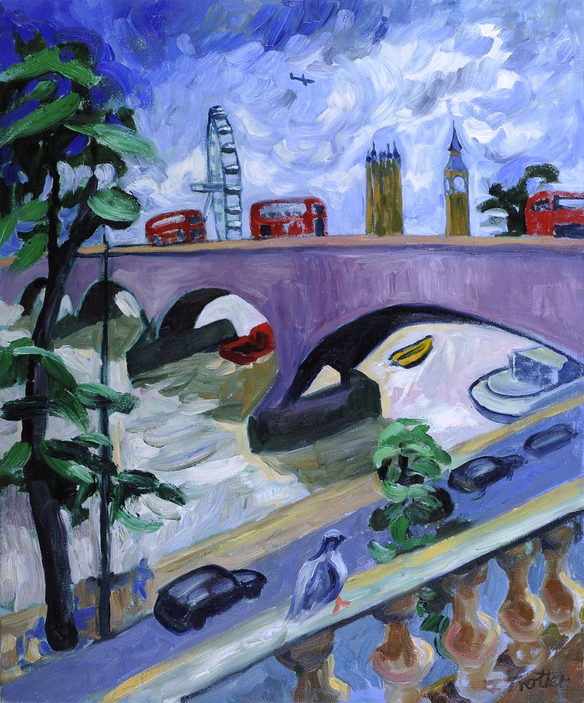 Waterloo Bridge by Josephine Trotter, oil on canvas : Stock Photo