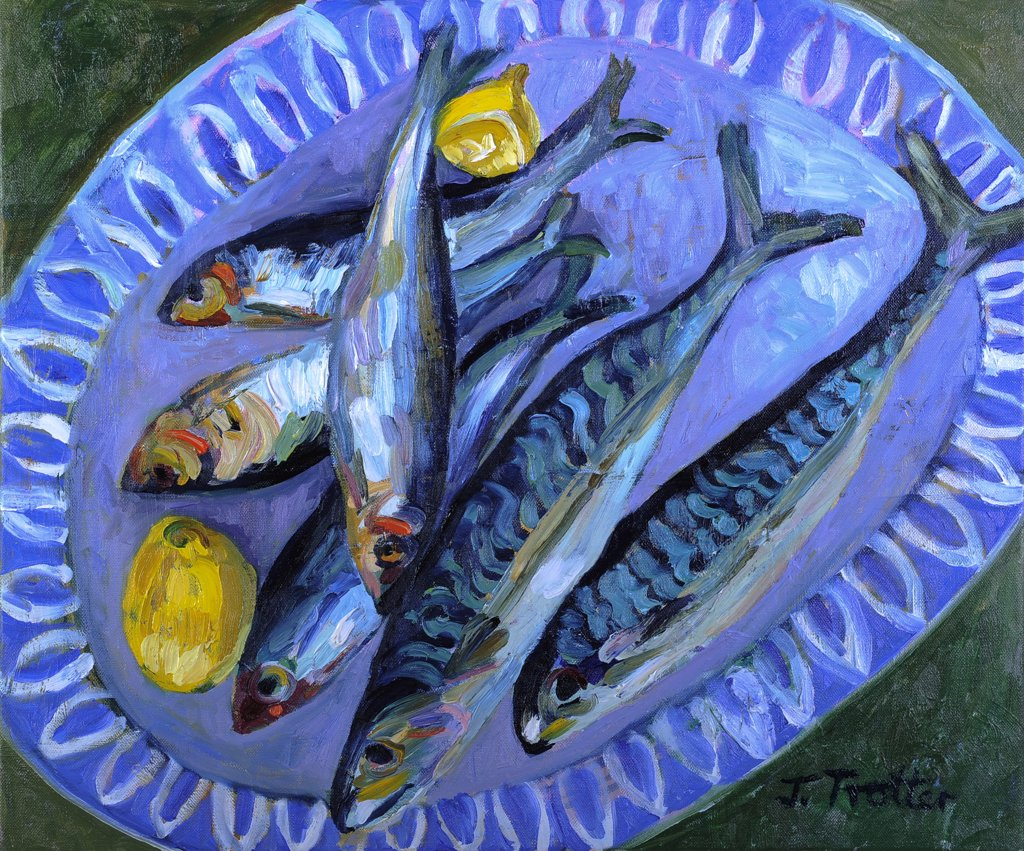 Stock Photo: 1101-618 Mackerel by Josephine Trotter, oil on canvas