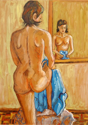 Stock Photo: 1105-440 Nude Study With a Mirror 2002 Sir Roy Calne (b.20th C. British) Gouache