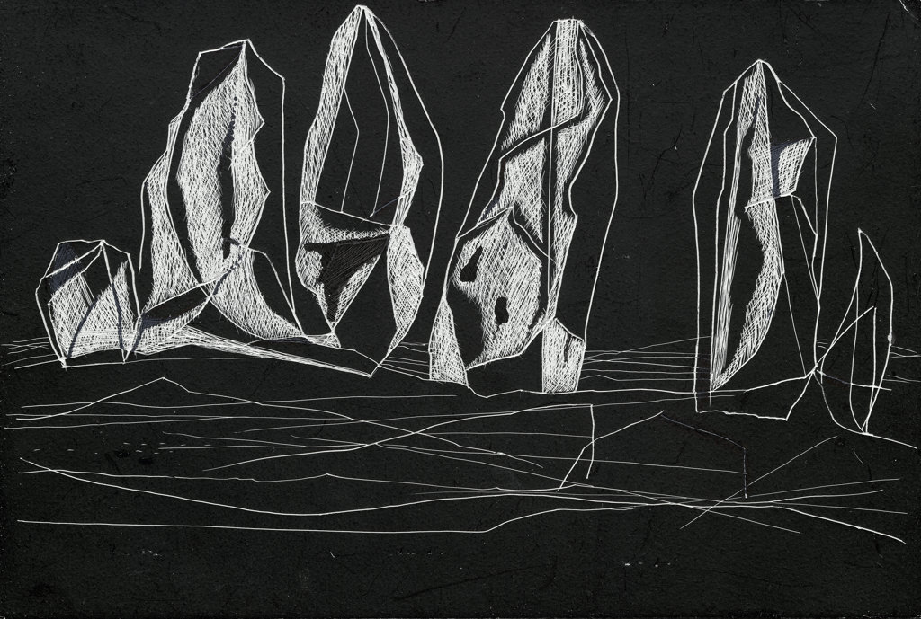 Stock Photo: 1107-25370 Night Presences Hamish MacEwan (b.20th C. American) Scratch Board Private Collection