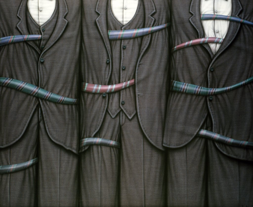 Senores de Mono by Ernesto Bertani,  acrylic painting,  1994,  born in 1949,  Argentina,  Buenos Aires,  Zurbaran Galeria : Stock Photo