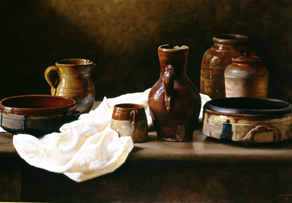 The Pottery (Los barros) by Juan Lascano,  oil on canvas,  1983,  born in 1947,  Argentina,  Buenos Aires,  Zurbaran Galeria : Stock Photo