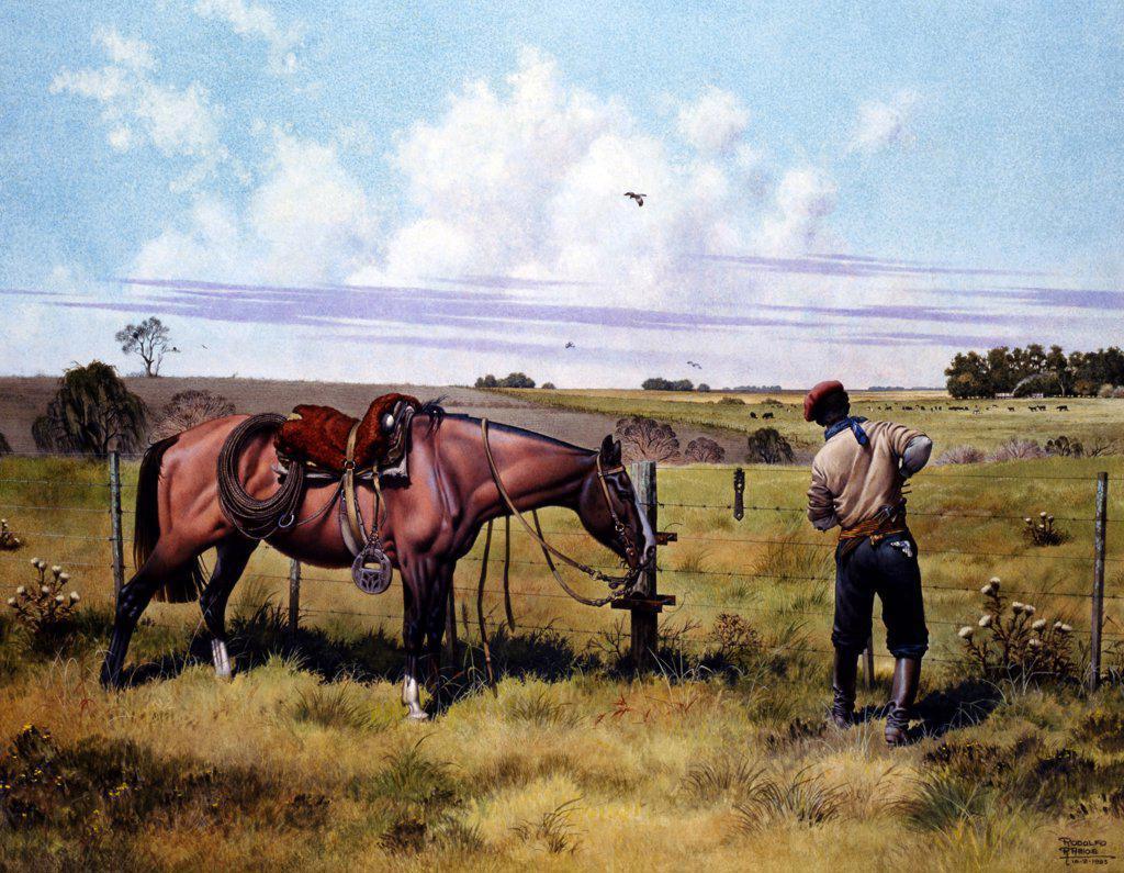 Skilled Hunter by Rodolfo Ramos,  watercolor on cardboard,  1995,  born in 1937,  Argentina,  Buenos Aires,  Zurbaran Galeria : Stock Photo