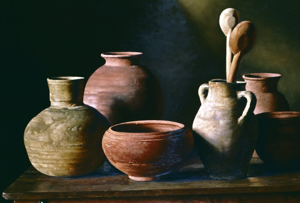 Stock Photo: 1109-1039 El Ultimo Atardecer by Juan Lascano,  oil on canvas,  1999,  born in 1962,  Argentina,  Buenos Aires,  Zurbaran Galeria