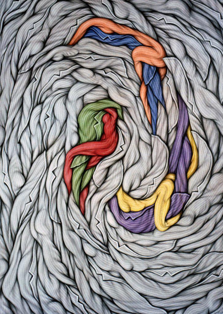 En la Rueda by Ernesto Bertani,  acrylic on canvas,  2002,  (Born 1949),  Argentina,  Buenos Aires,  Zurbaran Galeria : Stock Photo