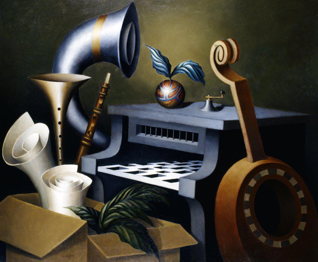 Quinteto Juan Carlos Liberti (b.1930 Argentinean) Zurbaran Galeria, Buenos Aires, Argentina : Stock Photo