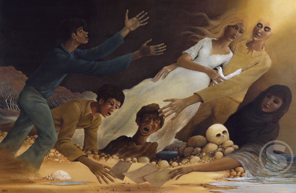 Stock Photo: 1110-21521 Resurrection by Andre Rouillard,  acrylic on canvass,  1982