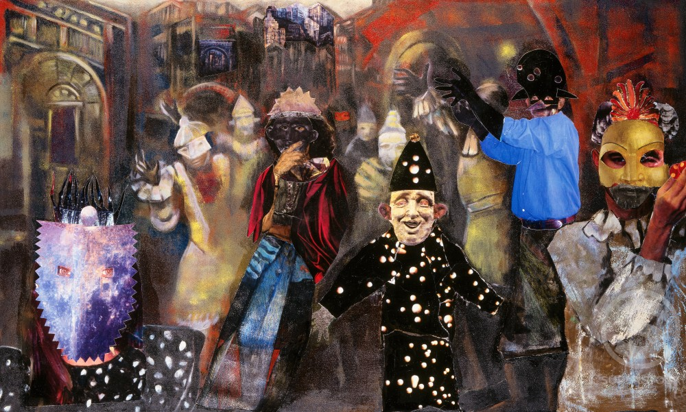 Performers Freshman Brown (20th C. American) Mixed Media on Canvas : Stock Photo