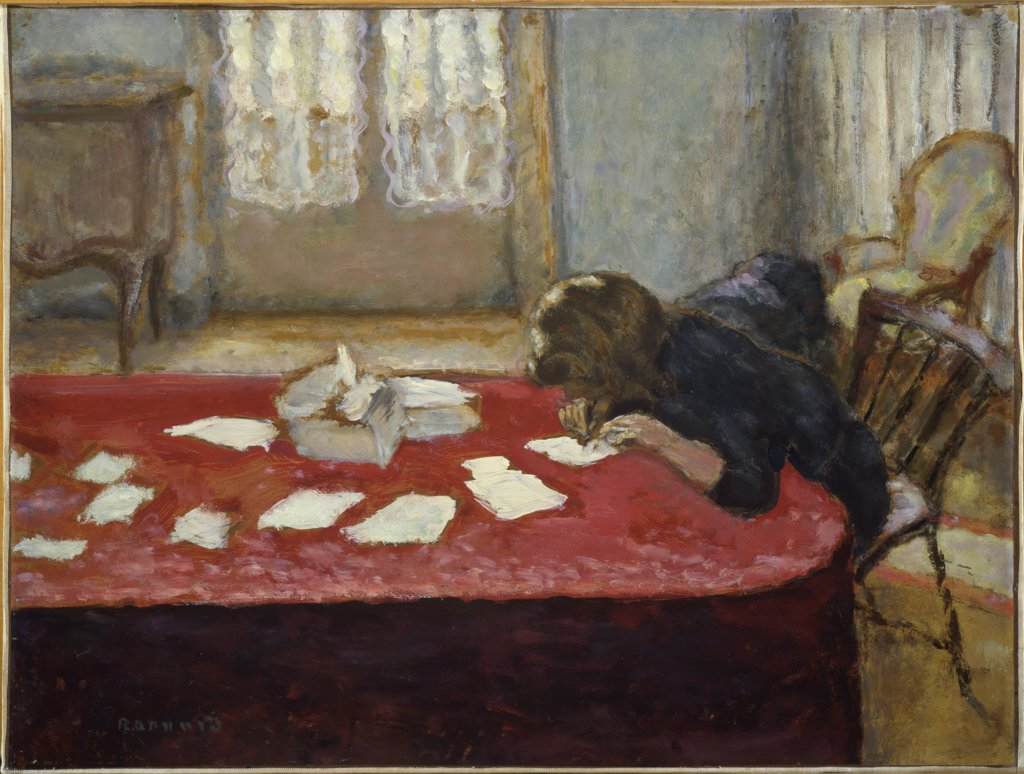 Stock Photo: 1114-1034 Girl Writing by Pierre Bonnard, oil on wood panel, 1908