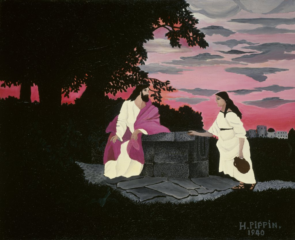 Christ and the Woman of Samaria by Horace Pippin, 1940, 1888-1946, USA, Pennsylvania, Merion, Barnes Foundation : Stock Photo