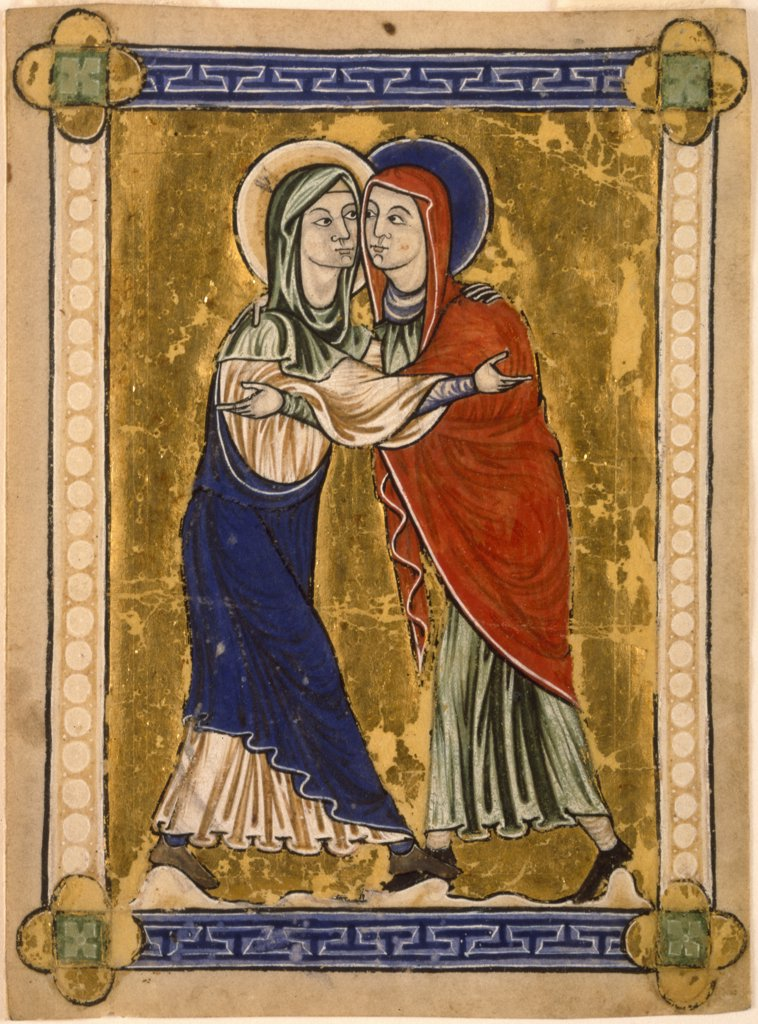 Stock Photo: 1114-1090 The Visitation by unknown artist,  Circa 1220-1230,  USA,  Pennsylvania,  Merion,  Barnes Foundation