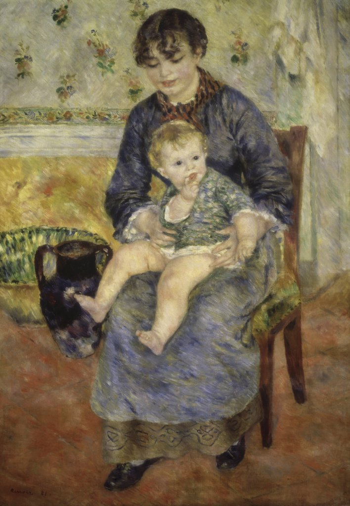 Stock Photo: 1114-1102 MOTHER AND CHILD MERE ET ENFANT OIL ON CANVAS Renoir, Pierre-Auguste 1841 d1919 French Barnes Foundation, Merion, Pennsylvania